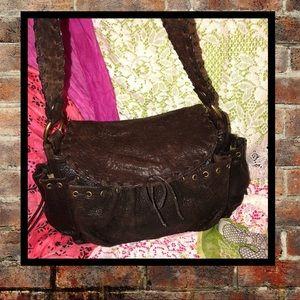 Kooba Brown Distressed Leather Satchel
